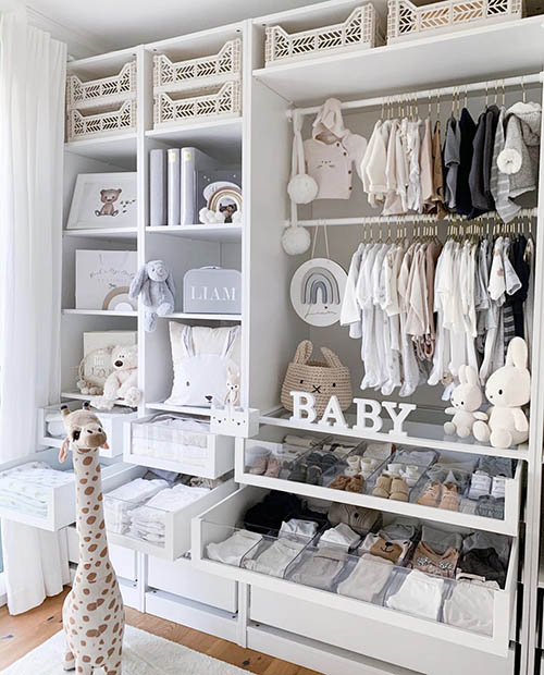 baby closet with pull out storage