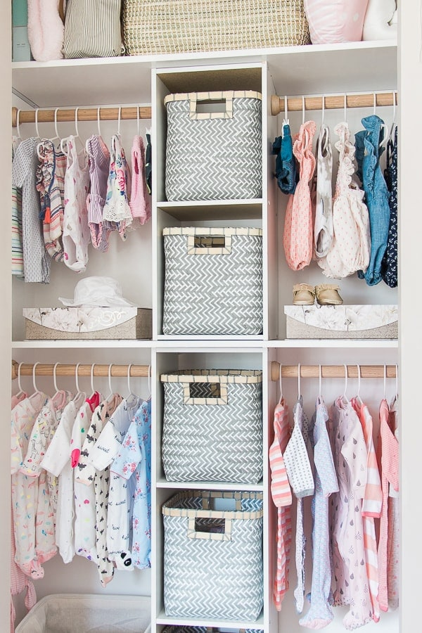 Maximize the space in your nursery closet with this DIY nursery closet project