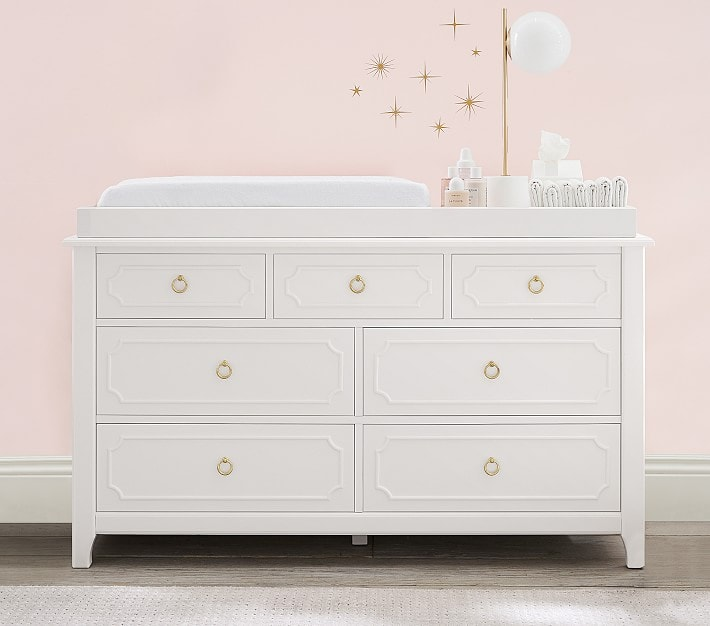 Extra wide nursery dresser and changing table topper set