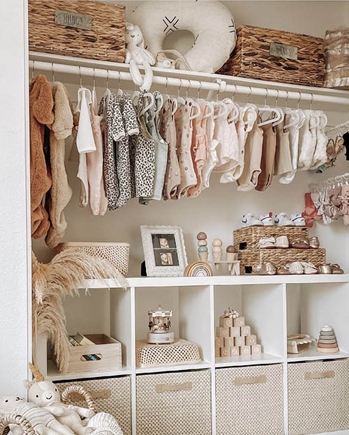 neutral nursery closet with no closet door