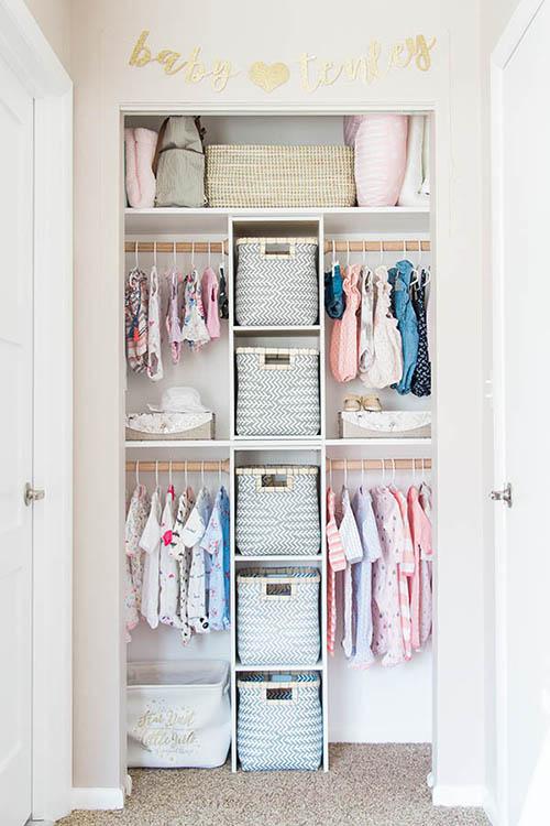 organizing ideas for nursery closet