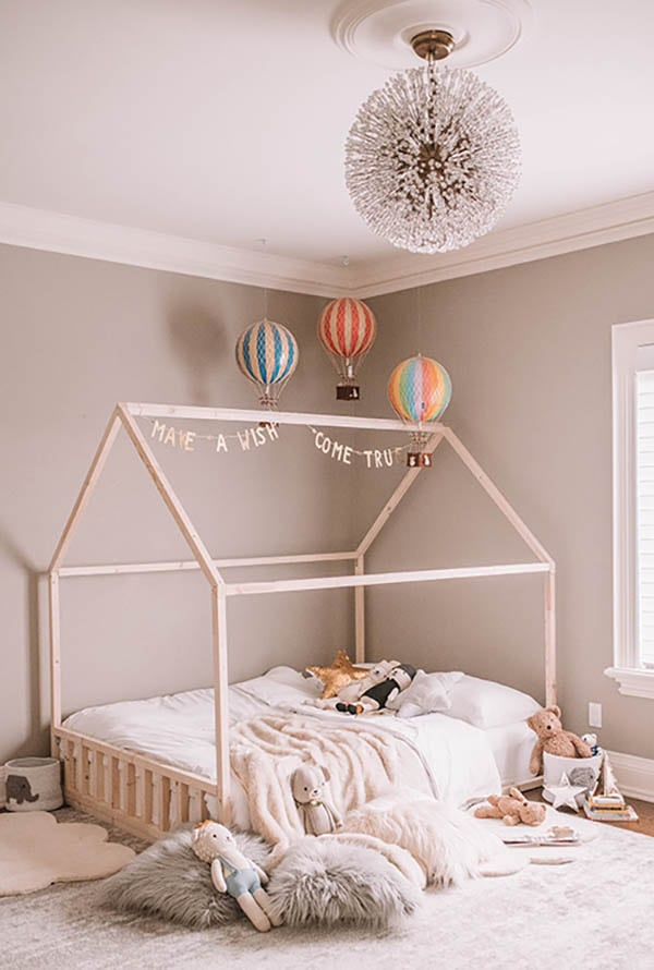 wood house bed for toddlers